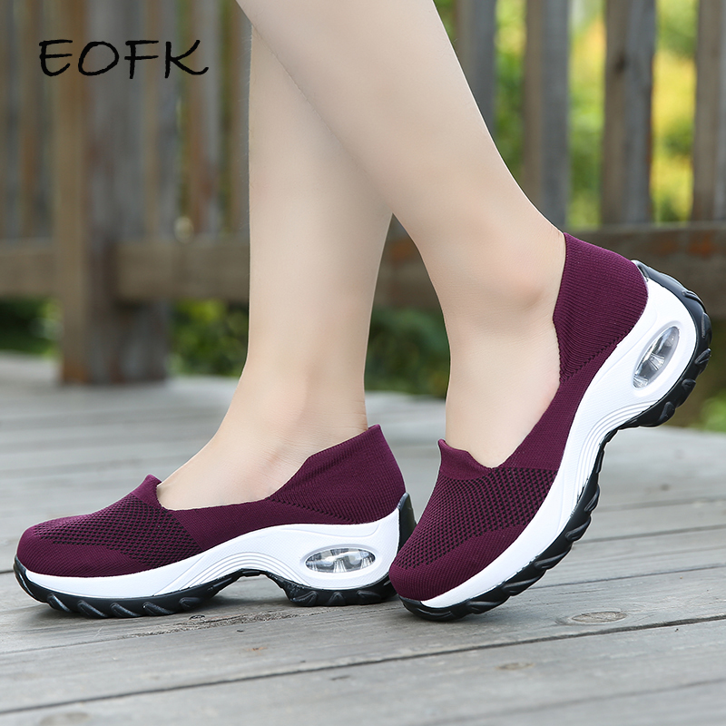 EOFK Women Sneakers Slip-On Spring Summer Fly Knit Cushioning Sports Shoes For Female Wine Red Comfortable Women's Loafers Flats