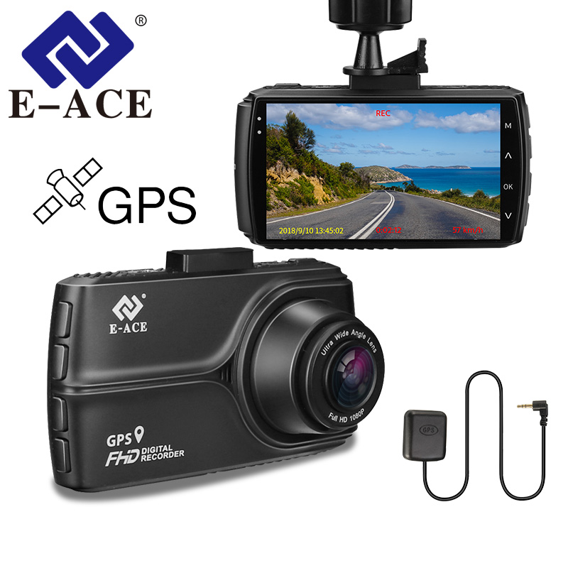 E-ACE Car Dvr GPS Tracker Camera Full HD 1080P Mini Night Vision Video Recorder 170 Degree ADAS LDWS Dashcam Auto Registrar