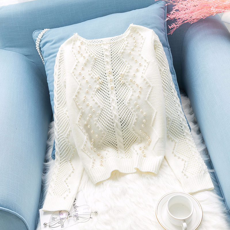 Pearls beading white sweater women knitted hollow out Pullover  loose lazy sweaters basic tops 2019 autumn and winter new  arrivalPullovers