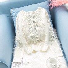 Pull avec perles blanc pour femmes, tricoté, ajouré, ample, paresseux, tops basiques, automne et hiver, 2019