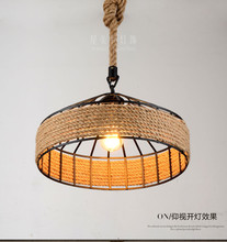 купить American Retro Iron Base Hemp Rope Chandelier Bar Cafe Restaurant Black Creative Industrial Wind Chandelier дешево