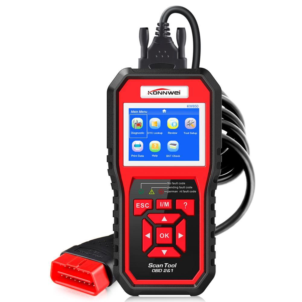 KW850 KONNWEI obd2 scanner de diagnóstico auto OBD Completo 2 OBDII Leitor de Código Scanner ferramenta de diagnóstico Do Carro pode um clique I /M readiness