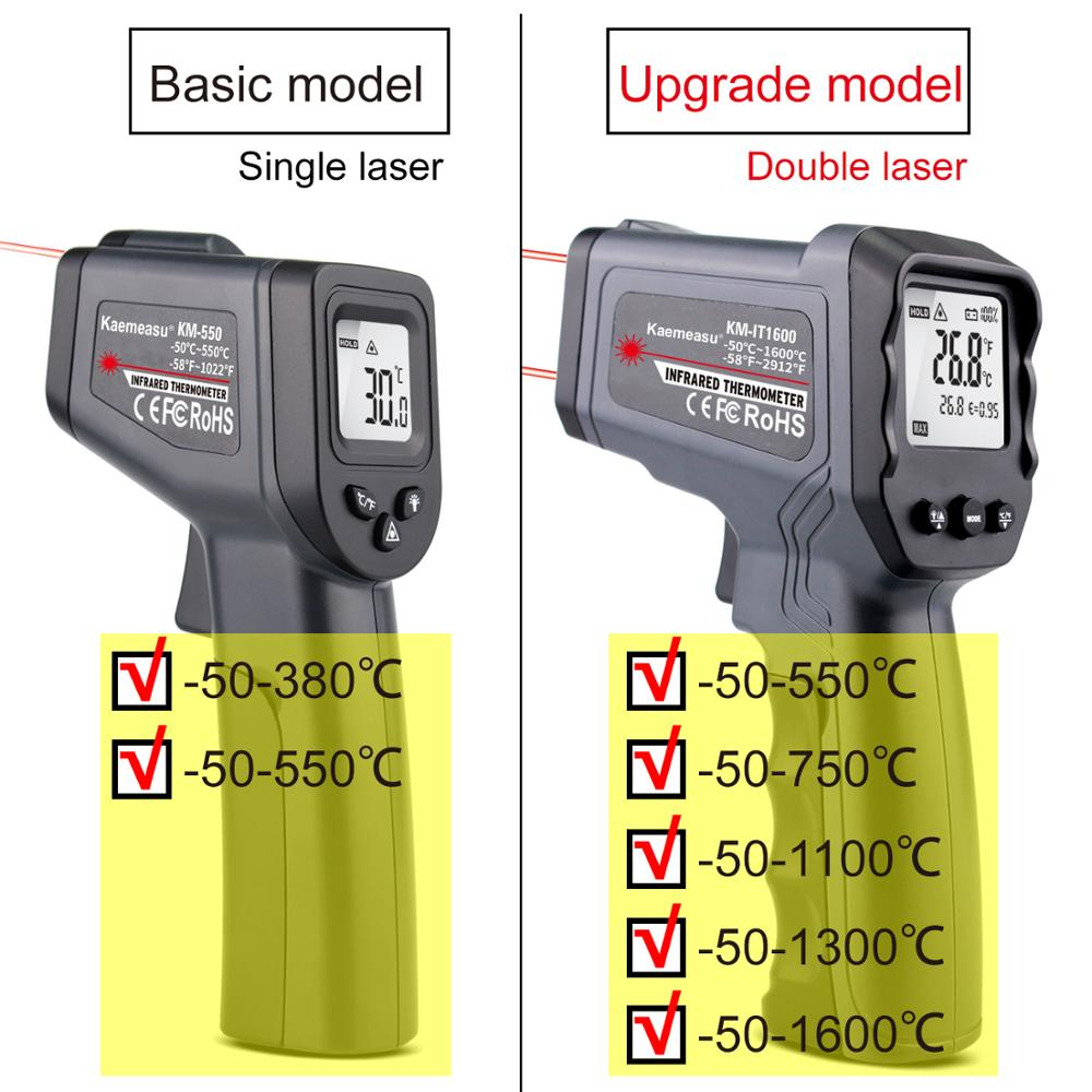 Image 2 - الرقمية الأشعة تحت الحمراء ميزان الحرارة 50 ~  380/550/750/1100/1300/1600 درجة واحدة/مزدوجة الليزر غير مقياس حرارة  تلامسي بندقية ميزان الحرارة-في أجهزة قياس درجة الحرارة من أدوات على
