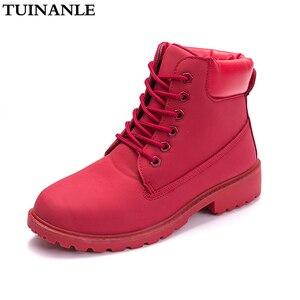 Image 1 - Tuinanle 2020 outono inverno sapatos femininos de pelúcia neve bota calcanhar moda manter quentes botas femininas mulher tamanho 36 42 tornozelo botas rosa
