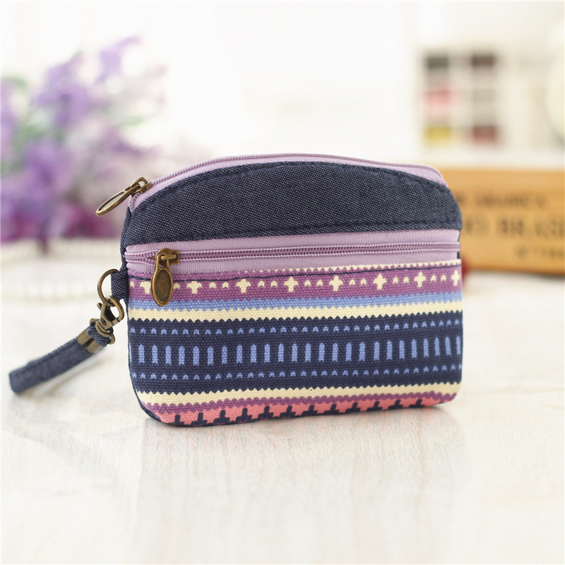 Ethnic-Style Double Pull Carrying Fabric Coin Bag Women's Purse Key Tundish A Generation