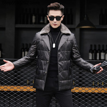 2020 New Haining Genuine Leather Leather Down Jacket Male Mink Fur Lapel Sheep Leather Leather Coat Male Medium Length Money cheap Loose Black Casual Single Breasted Full Lace Thick (Winter) 100 SILK White duck down NONE 100g Letter Long Medium and long (65cm length ≤80 cm)