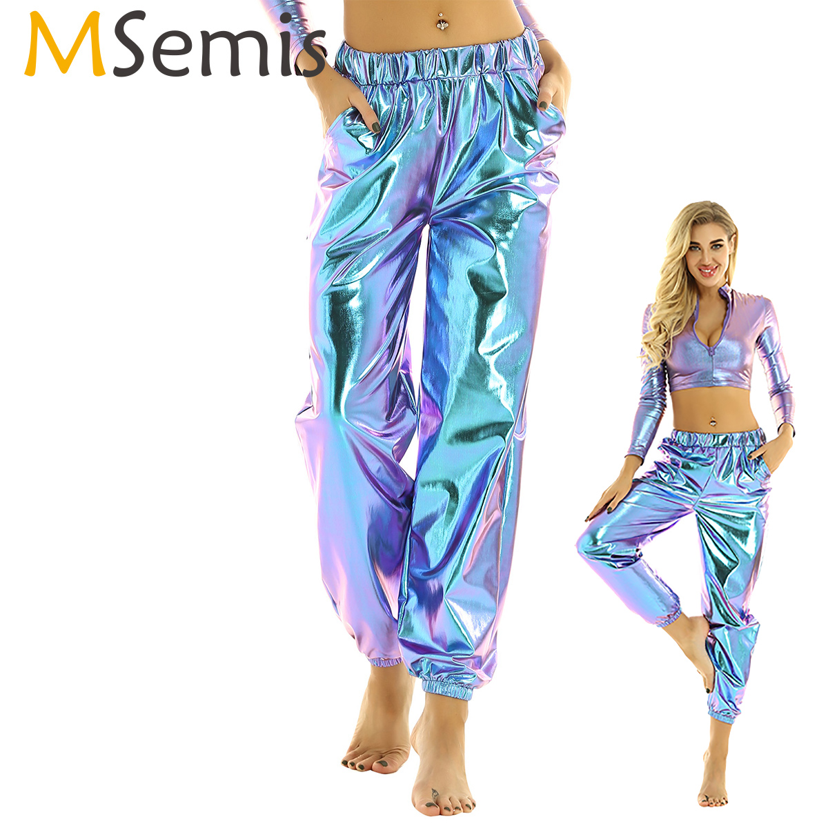 MSemis Womens Shiny Metallic Holographic Clothes Rave Festival Disco Pole Dance Wear Pants Sweatpant Hip Hop Trouser Street Wear