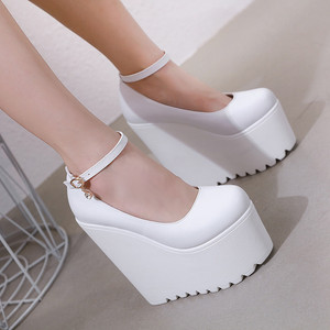 17 Cm Round Head Platform Super High Heel Thick Heel Women's Shoes Black And White Pumps For Women Sexy Wedges