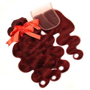 Image 4 - Pinshair 99j hair red burgundy bundles with closure 브라질 바디 웨이브 휴먼 헤어 위브 번들 (closure non remy no tangle)