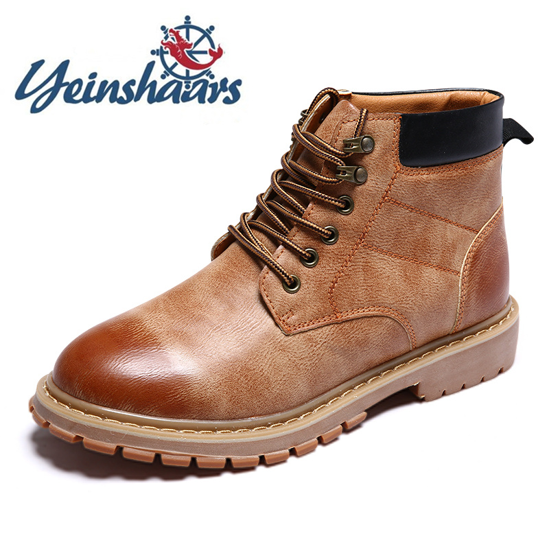 New Fashion Round Toe Boots Men Brand Men's Leather Boots Martin High Top Outdoor Shoes Leisure Walk Hiking Shoes Botas Hombre