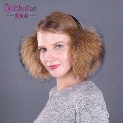 Брендовые Модные женские наушники с кроличьим мехом и лисьим мехом, зимние наушники, удобные теплые ушные накладки для девочек, регулируемы...