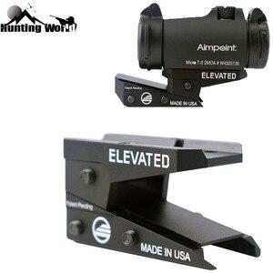 Tobogán de altura ajustable táctico adaptador de montaje de punto rojo soporte de vista vertical para caza T1 T2 /Aimpoint T-1 T-2 /MRO/RMR/Holosun