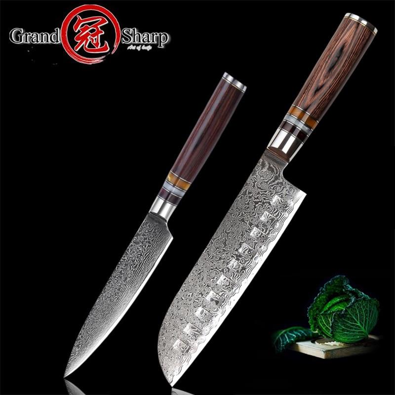 GRANDSHARP 2 Pcs Damascus Knife Set Santoku Utility Chef Knives 67 Layers Japanese vg10 Damascus Stainless Steel Kitchen Knives