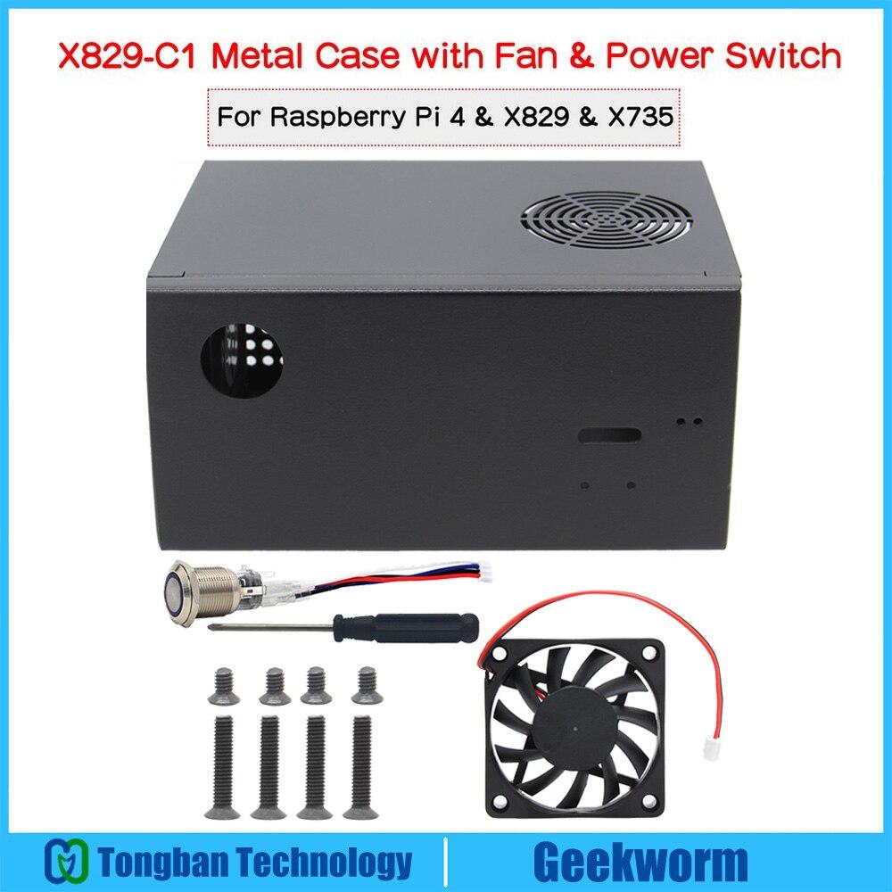 Raspberry Pi X829-C1 металлический корпус + выключатель питания + охлаждающий вентилятор для Pi 4 и X829 Dual 2,5 дюйма SSD/HDD SATA плата, совместимая с X735/X708/U100