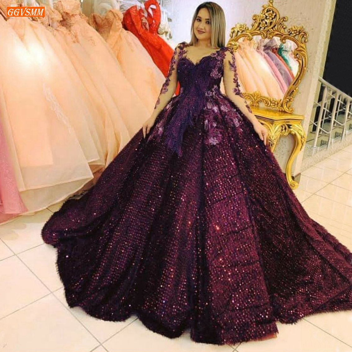 Luxury Burgundy Evening Gowns Long Sleeves Sequined Ball Gown Sexy Women Party Dresses Formal Custom Made 2020 Vestido De Festa