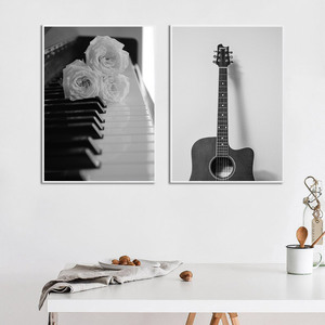 Image 3 - Black and White Canvas Art Flower Picture Abstract Modern Painting Poster Living Room Painting Black White Landscape Unframed