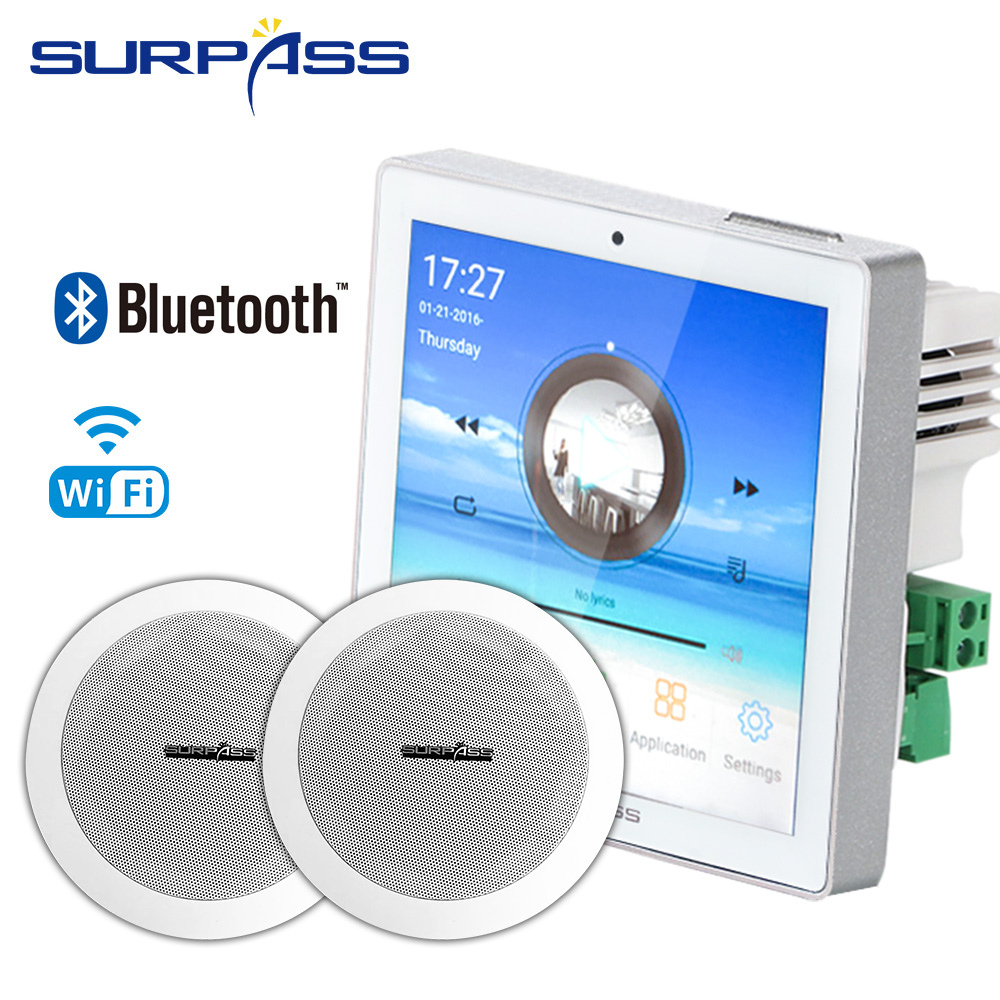Surpass Audio WIFI <font><b>Bluetooth</b></font> Wall <font><b>Amplifier</b></font> With Ceiling Speaker Whole Set Package For Home Theater Background Music System image
