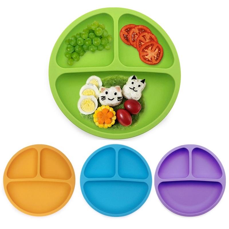 Baby Silicone Dining Plate Toddle Tableware Kitchen Fruit Dishes Children Feeding Dinner Plates Bowls Eating Bowl Anti-fall Tray