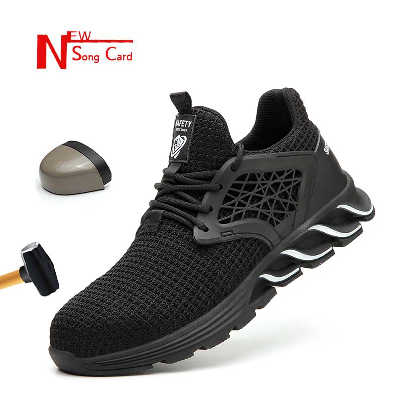 New Song Card Men's Outdoor Steel Toe Anti Smashing Protective Work Shoes Boots Men Puncture Proof Safety Shoes Anti-slip 36-48