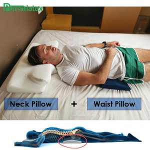 Image 4 - Purenlatex 2 Pcs Set Contour Orthopedic Memory Foam Cervical 14cm Pillow and Waist Pillow Set for Side Back Stomach Sleepers