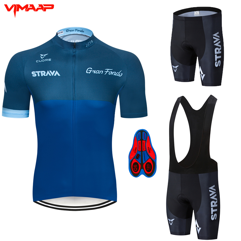 2020 <font><b>STRAVA</b></font> Pro Team summer cycling Jersey set Bicycle Clothing Breathable Men Short Sleeve <font><b>shirt</b></font> <font><b>Bike</b></font> bib shorts 9D Gel pad image