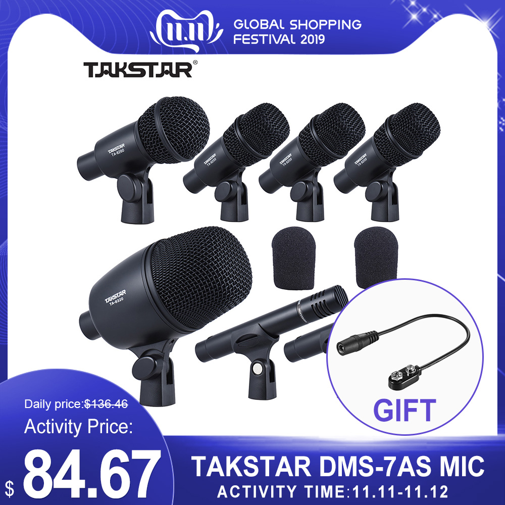 TAKSTAR DMS-7AS Professional Wired Microphone Mic Kit For Drum Set Musical Instruments With Standard Mounting Studio Music