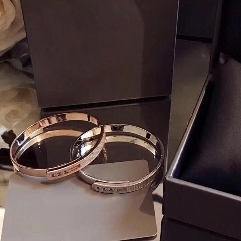 Marque Pure 925 bijoux en argent Sterling pour les femmes glisser pierre bracelet en argent pleine pierre bracelet en or Rose bijoux de mariage serrure facile - 4