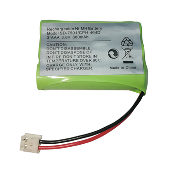 Ni-MH Battery 3.6V 800mAh for SD-7501 V-Tech 89-1323-00-00 AT & T Lucent 27910 CPH-464D 3*AAA 3.6V Replacement BATTERY image