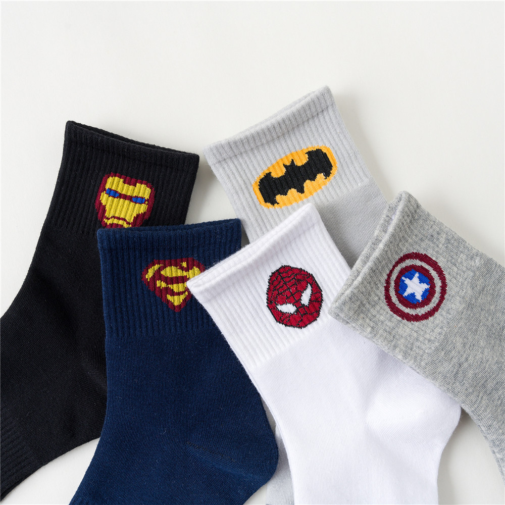 Superhero The Avengers Iron Man Cosplay Props Spiderman Cotton Stockings Ankle Socks Knee-High Sock Hiking Socks New