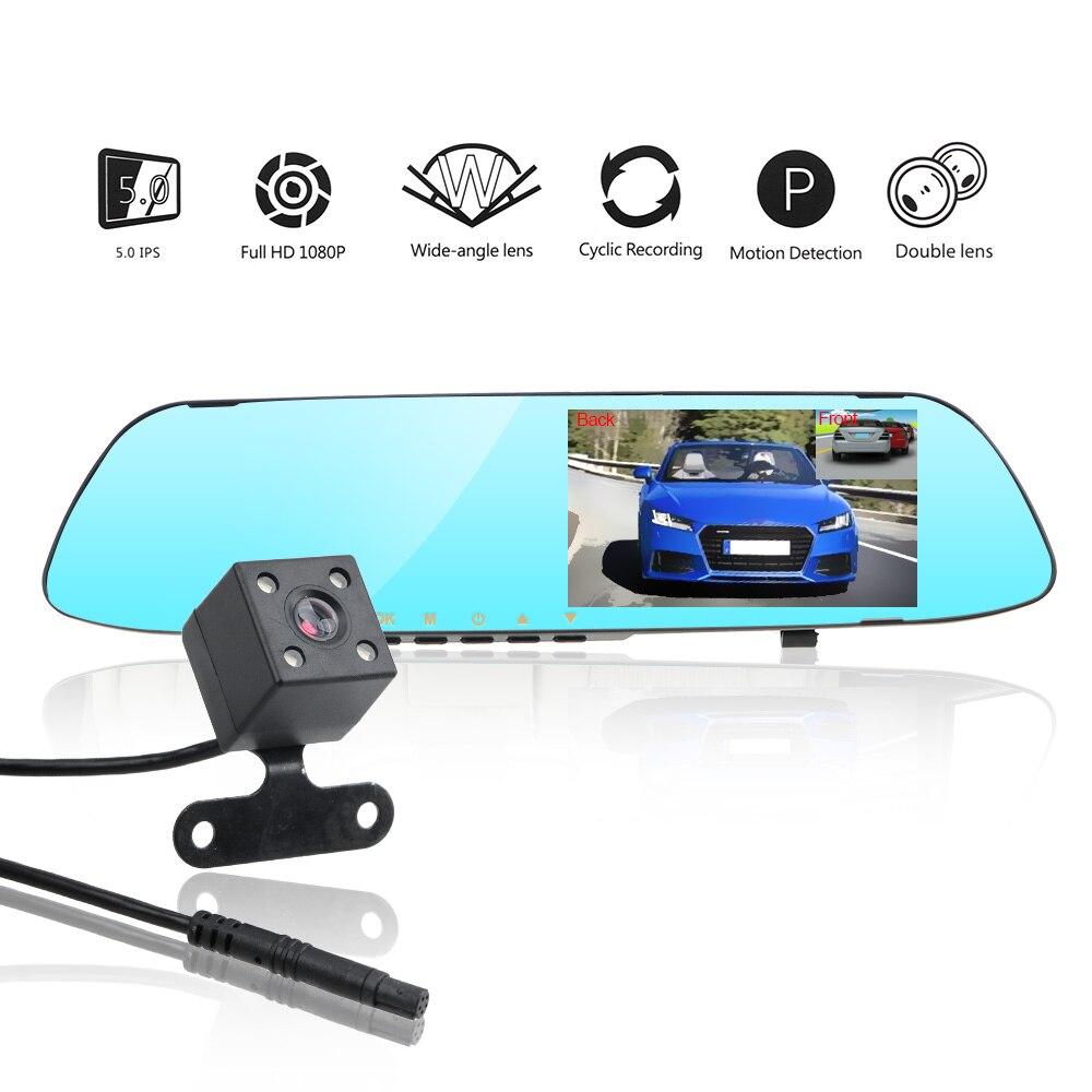 Двухканальный видеорегистратор LEEPEE для зеркала заднего вида, видеорегистратор для автомобиля, видеорегистратор, видеорегистратор, экран ...