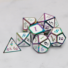 Metal Dnd Dice Sets Dungeons And Dragon D&D MTG RPG Polyhedral Role Playing White Rainbow Dice Gift 7PCS D20 D12 D10 D8 D6 D4