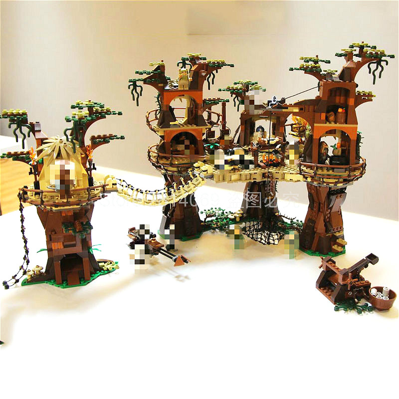 05047 Star Wars Star Plan Wars Ewok Village 1990Pcs Model Building Kit Block Bricks Compatible With Movie 10236
