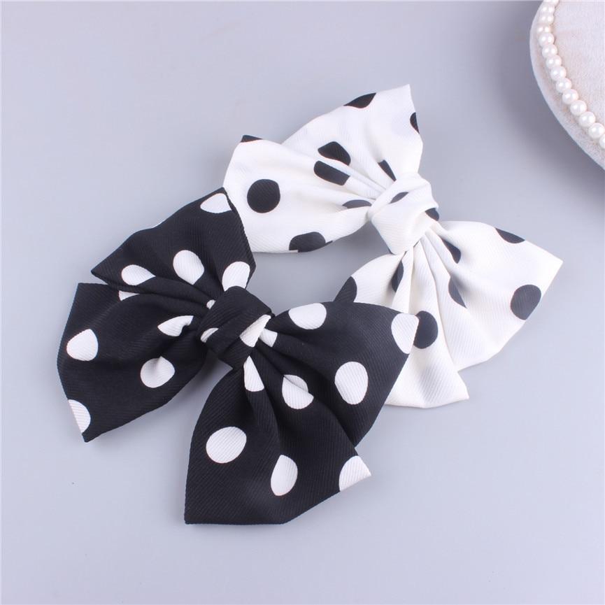 ncmama Korean Hair Clip for Women with French Clips Chiffon Black/White Dot Big Bowknot Hairgrips Fashion Hairpin Headwear
