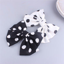 ncmama Korean Hair Clip for Women with French Clips Chiffon Black/White Dot Big Bowknot Hairgrips Fashion Hairpin Headwear