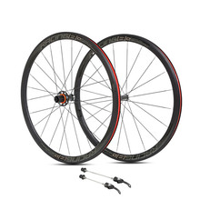 Ultra light aluminum alloy 700C road bike wheelset 36mm flat spokes rim sealed bearing carbon fiber hub wheel set