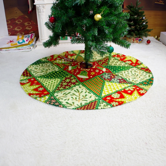 2021 Christmas Tree Skirt Santa Claus Elk Round Carpet Christmas Decorations For Home Party Office Floor Mat New Year Decor 4