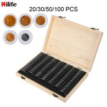 20/30/50/100/120 PCS Coin Collection Case With Adjustment Pad Coins Storage Box Adjustable Antioxidative Wooden Commemorative
