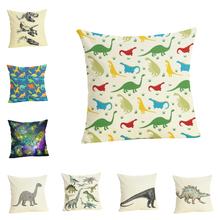 Lychee DIY Dinosaur Series Linen Printed Cushion Case Modern Flax 45x45cm Cushion Cover For Bedroom Home Office