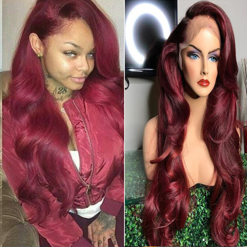 250 Density Burgundy 360 Lace Frontal Wig Body Wave 99J Lace Front Human Hair Wigs Pre Plucked With Baby Hair Glueless