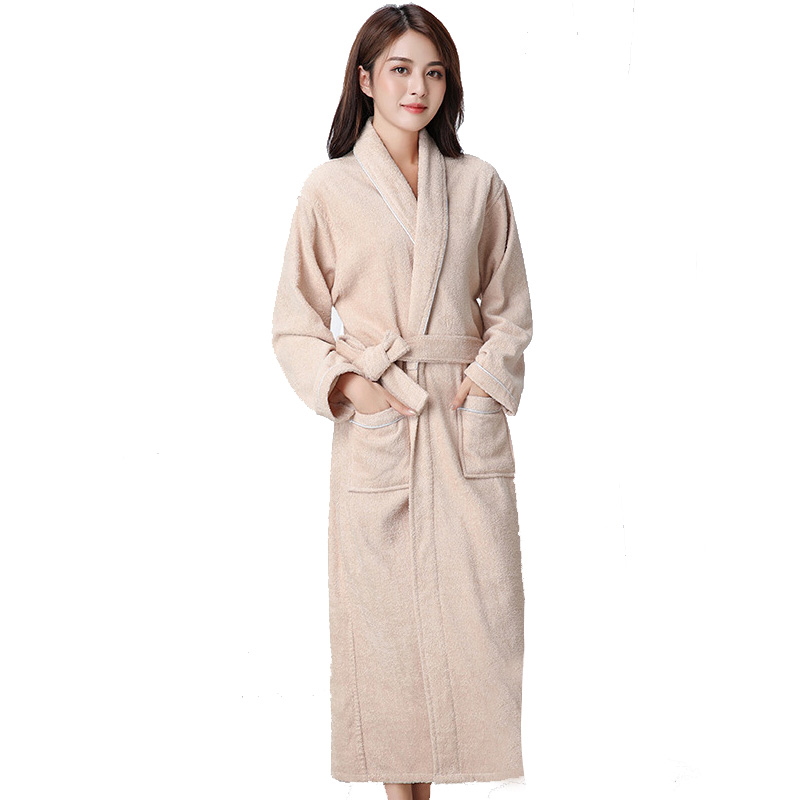 100% Cotton Khaki Toweling Terry Extra Long Robe Bride Soft Bath Robe Women Nightrobe Sleepwear Casual Home Bathrobe халатик
