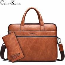 """Celinv Koilm الرجال حقيبة حقائب ل 14 """"محمول حقيبة أعمال 2 قطعة مجموعة حقائب عالية الجودة جلدية مكتب حقائب كتف حمل"""