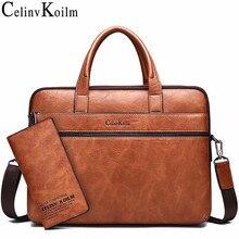 """Celinv koilm masculino maleta sacos para 14 """"portátil bolsa de negócios 2 pçs conjunto bolsas de couro alta qualidade escritório ombro sacos tote"""