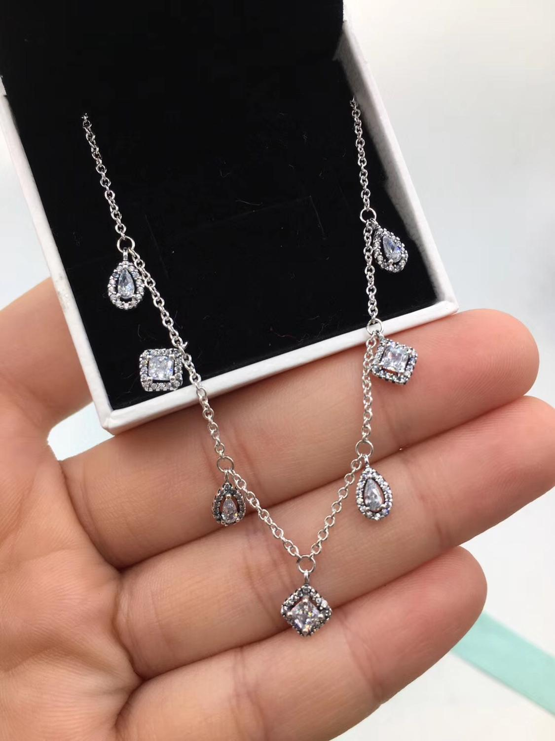 PDB XL  High Quality Original 925 Sterling Silver New 1: 1 Necklace Pop Elegant Necklace Lady Jewelry Gift Free Shipping.