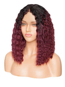 S-Noilite Bob Wig Short-Wig Deep-Part Lace-Front Kinky Synthetic Black-Women Curly 14inch
