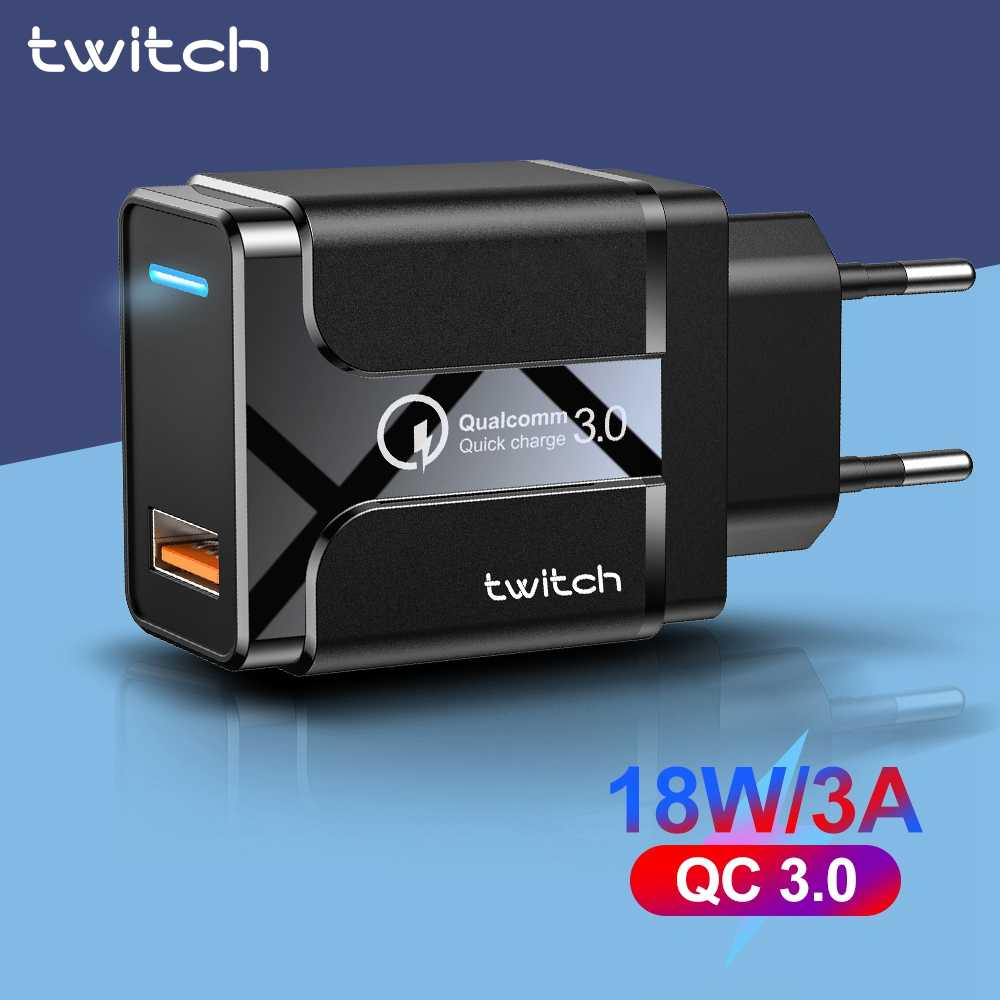 Twitch 18W Quick Charge 3.0 USB Charger for iPhone 11 Xiaomi Huawei Samsung S9 Tablet EU Wall Mobile Phone Charger Fast Charging