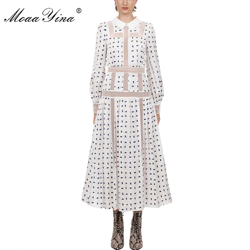 MoaaYina Fashion Designer Dress Spring Autumn Women's Dress Long Sleeve Patchwork Print Vacation Midi Dresses
