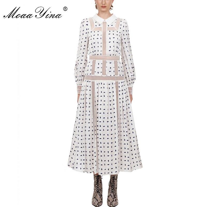 MoaaYina Fashion Designer Dress Spring Autumn Women's Dress Long Sleeve Patchwork Print Vacation Midi Dresses