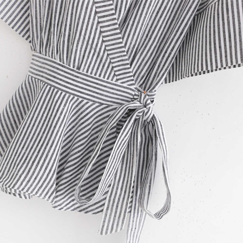 ZA חדש אביב נשים של שחור לבן פסים sashes V-צוואר חצי עטלף שרוול מעיל נשי אופנה מזדמן בגדים