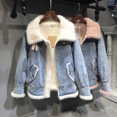 Chaud velours laine doublure Denim veste femmes hiver jeans décontractés veste manteau de fourrure femme 2019 Vintage Boomer épais Streetwear