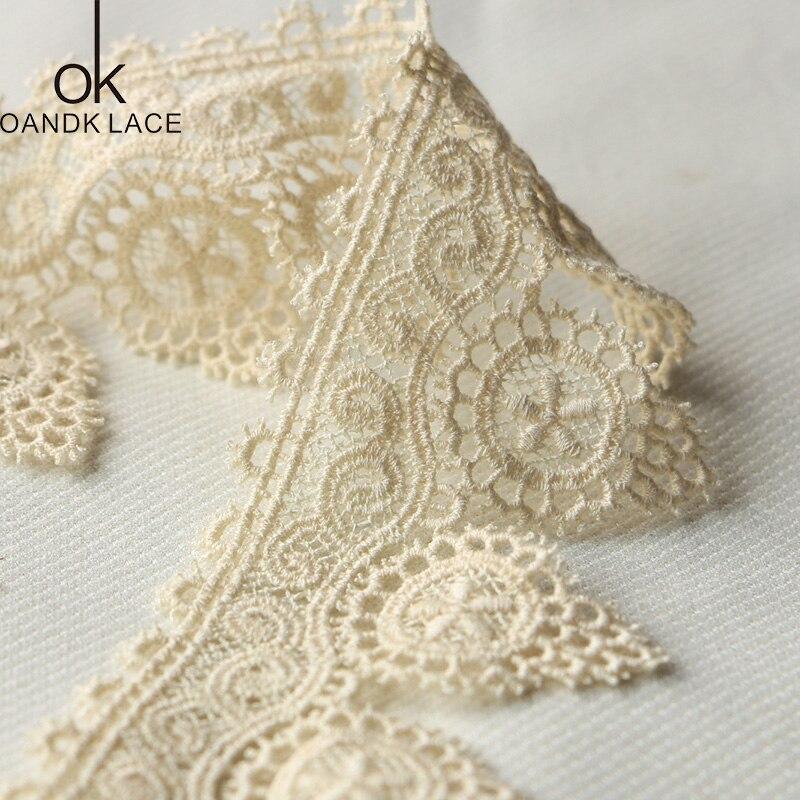1Yards Beige coton dentelle hometexil tissu enveloppement tricot embellissements fleurs bricolage Patchwork artisanat dentelle garnitures Scrapbooking